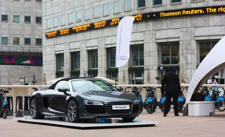 LONDON - FEBRUARY 12TH: Audi showcases their R8 collection on the 12th of February 2013 at Canary wharf in london, UK. The R8 audi collection is Audis most expensive model.