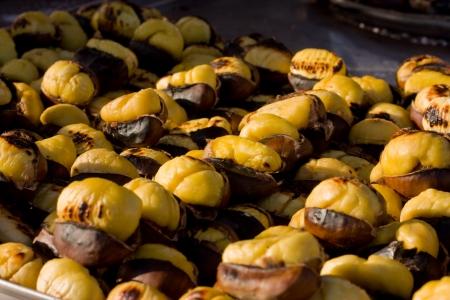 roasting chestnuts.  Stock Photo