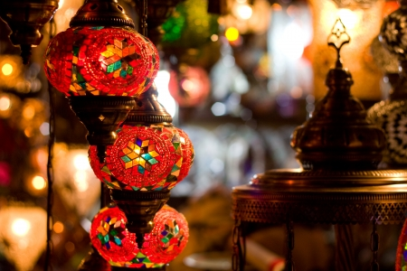 traditional turkish lanterns hanging in a shop