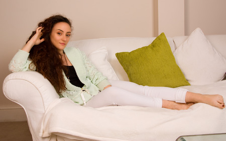 young woman relaxing at home. photo