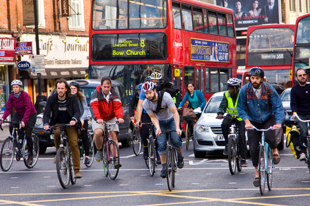 LONDON - MAY 6TH: Unidentified people commute to work on May the 6th, 2014 in London, England, UK. The london authorities are working to make london more cycle friendly. Editorial