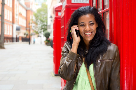 young woman on the phone in london photo