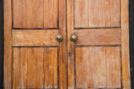 close up of a wooden door. photo