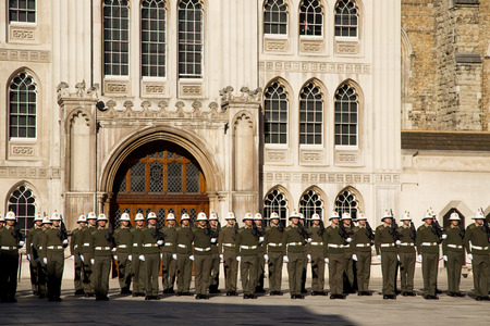guildhall: LONDON - OCTOBER 28TH: The royal marines on parade at the guildhall on October the 28th 2014 in London, England, UK. The events marks the royal marines 350th anniversary. Editorial
