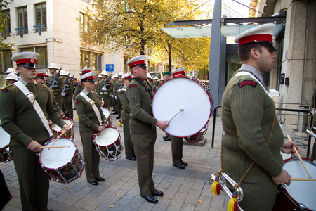march band: LONDON - OCTOBER 28TH: The royal marines on parade at the guildhall on October the 28th 2014 in London, England, UK. The events marks the royal marines 350th anniversary. Editorial