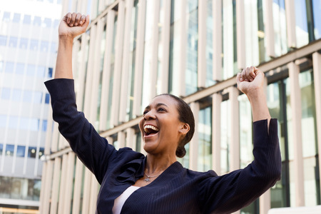 young business woman celebrating. photo