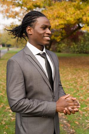 congratulate: proud business man clapping to congratulate a colleague Stock Photo