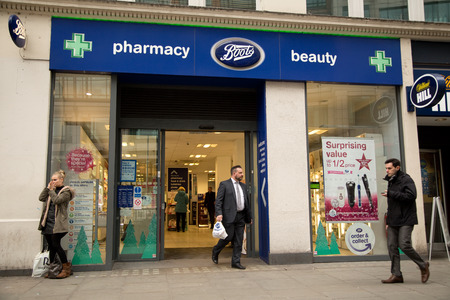 pharmaceutical company: LONDON - NOVEMBER 25TH: The exterior of Boots on November the 25th, 2014, in London, England, UK. Boots is the Uks leading pharmaceutical company.