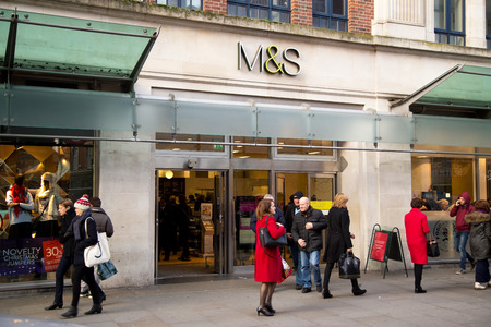 ms: LONDON - DECEMBER 11TH: The exterior of an M&S supermarket on December the 11th, 2014, in London, England, UK. M&S is one of the UKs leading supermarkets.