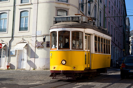 LISBON - JANUARY 11TH: An old traditional tram on January the 11th, 2015, in Lisbon, Portugal. Lisbons number 28 tram is one of the citys cultural attractions.