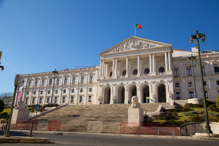 law of portugal: LISBON, PORTUGAL- January 11th, 2015: The exterior of Sao Bento palace on the 11th of january 2015 Lisbon, Portugal. The palace is the home of the portuguese goverment.