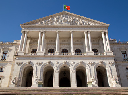 goverment: The exterior of Sao Bento Palace, the home of the portuguese goverment.