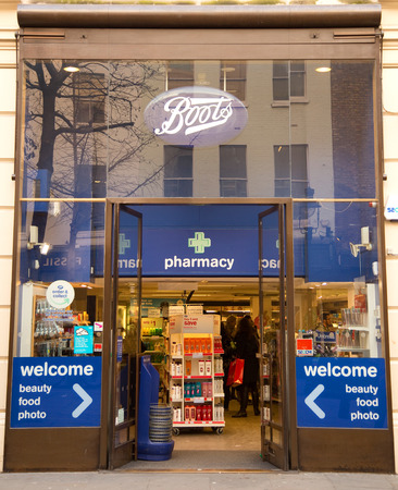 pharmaceutical company: LONDON - JANUARY 22nd: The exterior of Boots on January 22nd, 2015, in London, England, UK. Boots is the Uks leading pharmaceutical company.