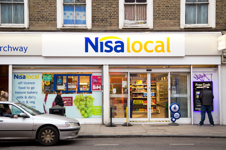 local supply: LONDON - JANUARY 27TH: The exterior of Nisa local on January the 27th, 2015, in London, England, UK. Nisa is a �1.43 billion turnover company Editorial