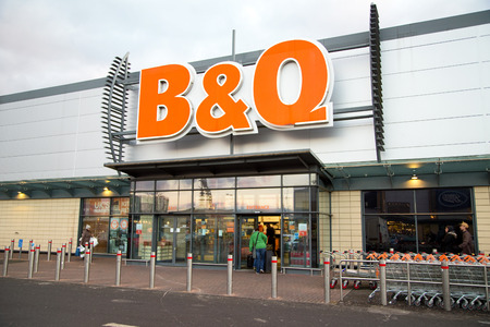 merchandiser: LONDON - FEBRUARY 2ND: The exterior of b&q on february the 2nd, 2015, in London, England, UK. B&Q is the uks leading retailer of home and garden supplies.