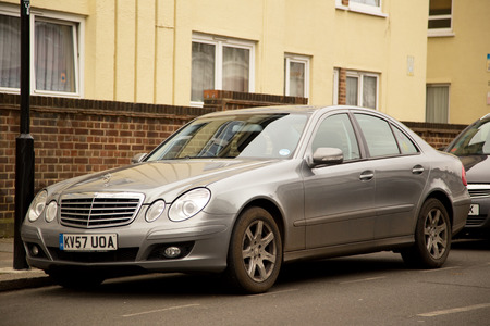 bens: LONDON - FEBRUARY 7TH: A Mercedes on February the 7th, 2015, in London, England, UK. Mercedes is a popular car manufacturer.