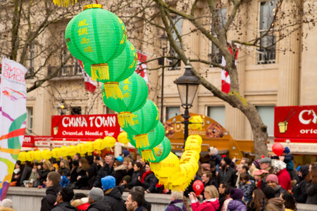annual event: LONDON - FEBRUARY 22nd: Lanterns at the Chinese new year celebrations on February the 22nd, 2015, in London, England, UK. Chinese new year is an annual event