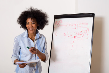 young conference: a young woman next to a whiteboard Stock Photo