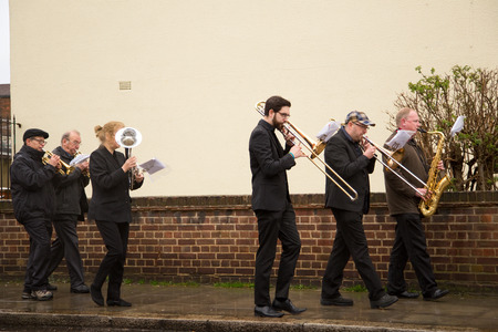 christianity palm sunday: LONDON - MARCH 29TH: Unidentified band at a palm sunday procession on March the 29th, 2015, in London, England, UK. Palm sunday is an annual religious celebration.