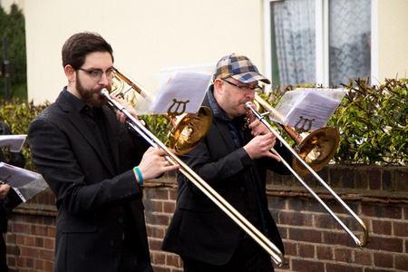 christianity palm sunday: LONDON - MARCH 29TH: Unidentified musicians at a palm sunday procession on March the 29th, 2015, in London, England, UK. Palm sunday is an annual religious celebration.