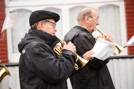 palm sunday: LONDON - MARCH 29TH: Unidentified musicians at a palm sunday procession on March the 29th, 2015, in London, England, UK. Palm sunday is an annual religious celebration.