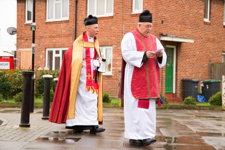 christianity palm sunday: LONDON - MARCH 29TH: The priests at a palm sunday procession on March the 29th, 2015, in London, England, UK. Palm sunday is an annual religious celebration.