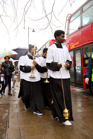 palm sunday: LONDON - MARCH 29TH: Unidentified people at a palm sunday procession on March the 29th, 2015, in London, England, UK. Palm sunday is an annual religious celebration. Editorial