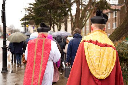 palm sunday: LONDON - MARCH 29TH: Unidentified priests at a palm sunday procession on March the 29th, 2015, in London, England, UK. Palm sunday is an annual religious celebration.