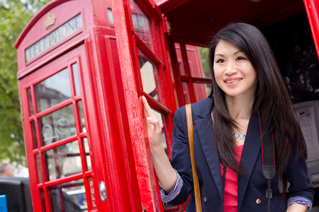 phonebooth: young chinese girl in London