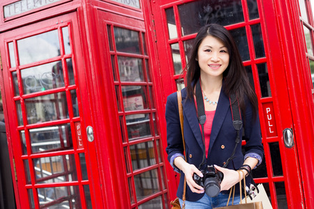 chinese lady: young chinese tourist in London Stock Photo