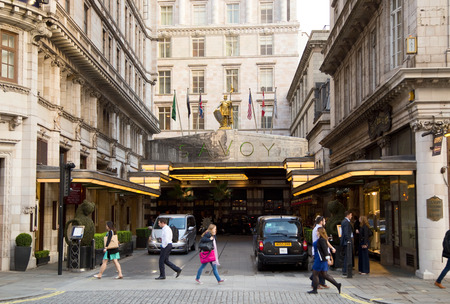 grand strand: LONDON - SEPTEMBER 2ND: The exterior of the Savoy on September the 2nd, 2015 in London, england, uk. The Savoy is one of the most luxurious propertys in London. Editorial