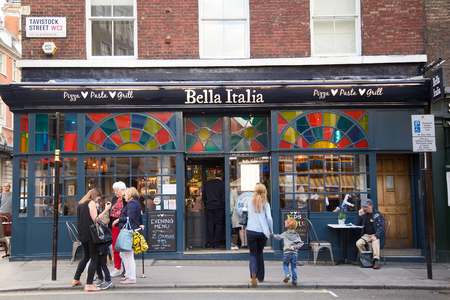 bella: LONDON - SEPTEMBER 2ND: The exterior of Bella Italia on September the 2nd, 2015 in London, england, uk. Bella Italia is a successful italian high street restaurant chain.
