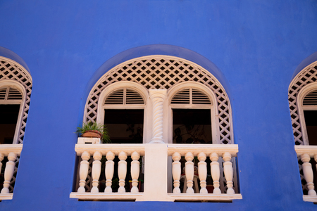 balcony: a typical cartagena balcony Stock Photo