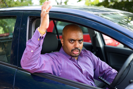 road rage: angry man in his car