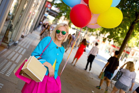bright color: party girl posing in the street