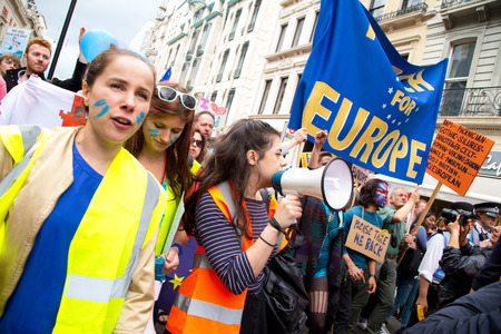 protesters: LONDON - July 2nd: Protesters at the march for europe protest on July the 2nd, 2016 in London, england, uk. An estimated 35 thousand attended the march.
