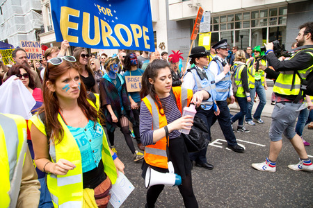 attended: LONDON - July 2nd: Protesters at the march for europe protest on July the 2nd, 2016 in London, england, uk. An estimated 35 thousand attended the march.