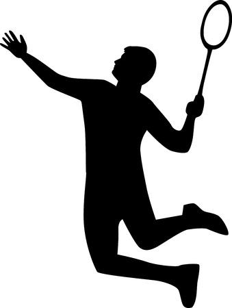 racket: Badminton Player Silhouette Illustration