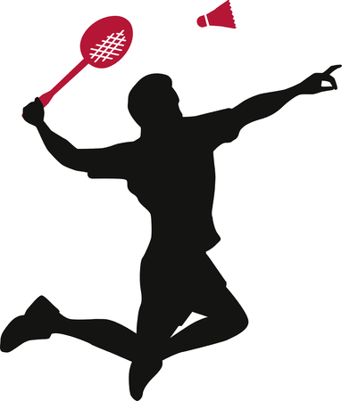 competitive sport: Badminton Player with Racket Illustration
