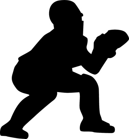 baseball catcher: Baseball Catcher Silhouette
