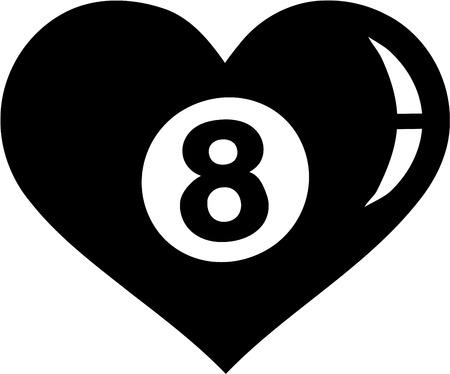 eight ball: Eight Ball heart Pool Illustration