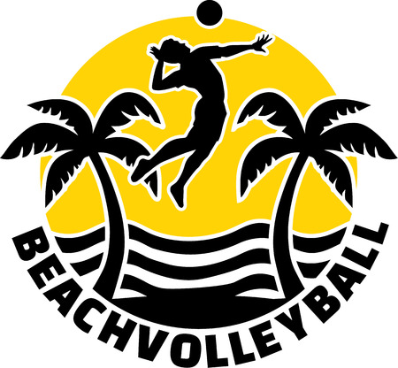 Beach-Volleyball-Emblem Standard-Bild - 40785033