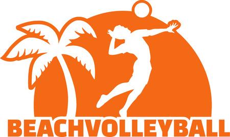 voleibol: Voleibol de Playa Player con la palma