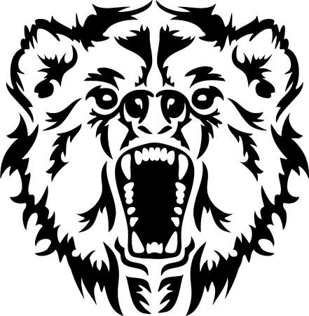 angry bear: Enojado del oso Cabeza Vectores