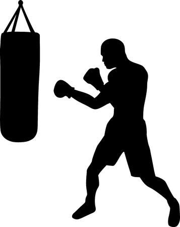 punching: Boxer with Punching Bag Illustration