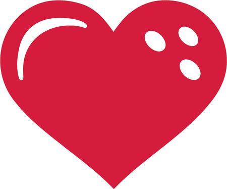 bolos: Corazón bola de bolos Vectores