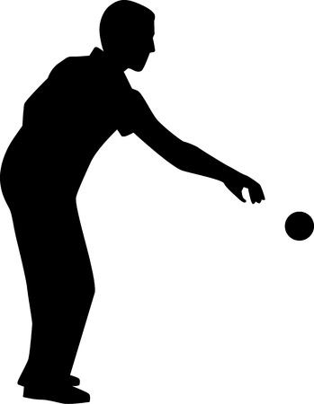 bocce ball: Bocce Player Silhouette