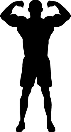 muscular men: Bodybuilder Silhouette