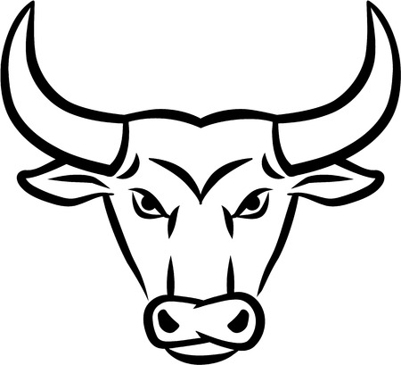angry bull: Angry Bull Head Illustration