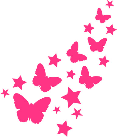 butterfly isolated: Butterflies and pink stars Illustration
